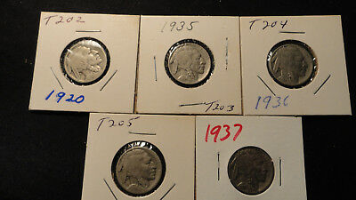 Buffalo Nickels Set of 5 1920, 1935 1936, 1936 D & 1937 Items T202 > T206