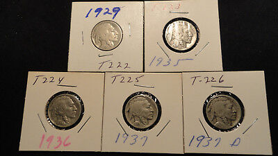 Buffalo Nickels Set of 5 1929, 1935, 1936, 1937 & 1937 D Items T222 > T226