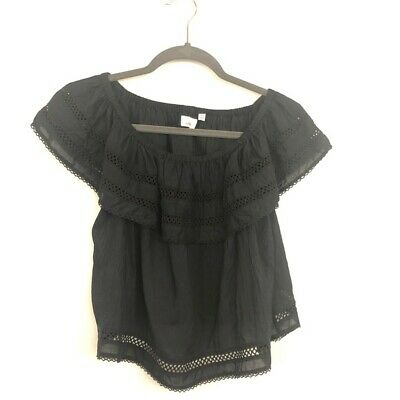 87beaccea9b64 Wilfred Size XXS Black Aritzia Off The Shoulder Crop Blouse Eyelet Womens