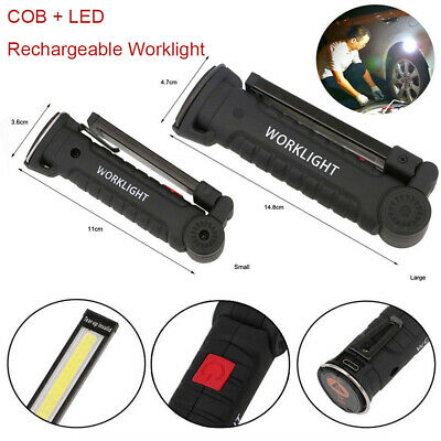 COB+LED Magnetic Rechargeable Torch Inspection Lamp Cordless Worklight P1I2