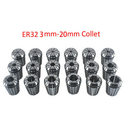 18pcs 3-20mm ER32 Spring Steel 65MN 65MN Collet For CNC Milling Lathe Tool