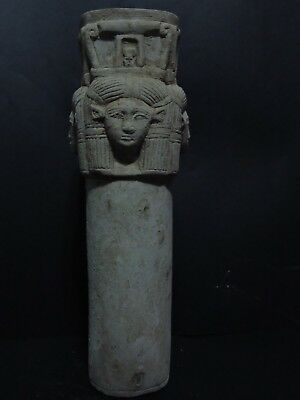 RARE ANCIENT EGYPTIAN ANTIQUES Museum Quality STAND Of GODDESS Hathor Egypt BC