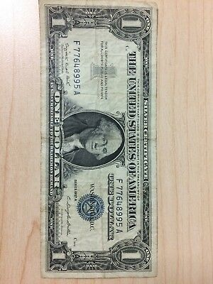Vintage $1 1957-A.  Silver Certificate One Dollar Bill Washington Blue Seal