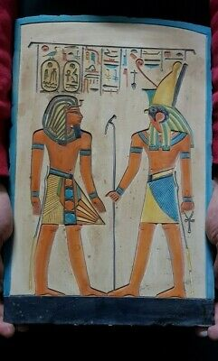 Rare ANCIENT EGYPTIAN ANTIQUES Ramses And HORUS Stela Relif Ramses Tomb Stone BC
