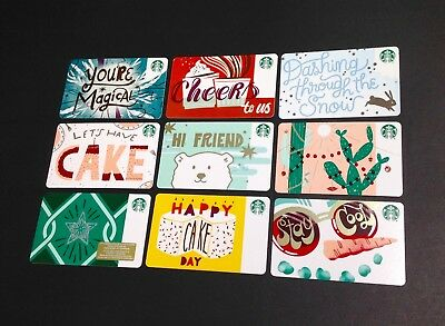 "STARBUCKS "" DIAMOND ""  marker RECYCLE PAPER GIFT CARD --- RARE -- LOT OF 9 PCS."
