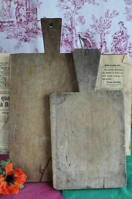 Charming Pair of French Antique Rustic Chunky Wooden Hand Made Chopping Boards