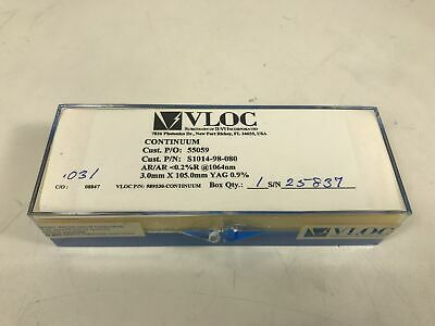 VLOC Nd:YAG Laser Rod 3mm Dia x 105mm AR/AR 1064nm Nd:0.9% New In Box R#55