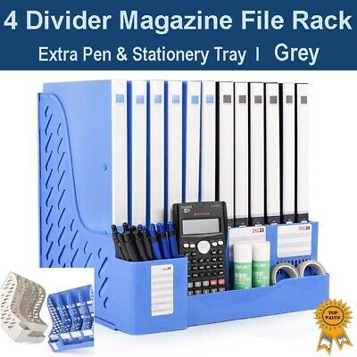 Office Home Organizer 4 Divider Magazine File Rack +Pen & Stationery Tray - Grey
