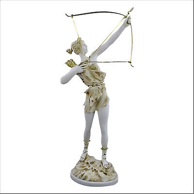 Artemis Diana with Bow Greek Roman Goddess Statue Sculpture Cast Marble 15.9in