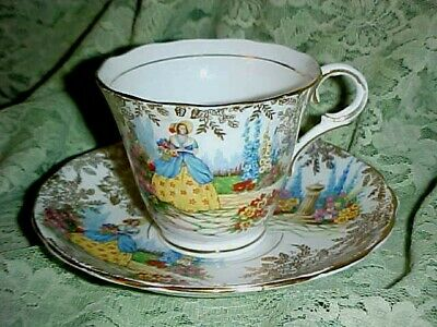 Vintage! Colclough Bone China Cup & Saucer  Lady in the Garden  Longton England