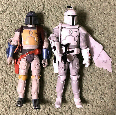 Star Wars Boba Fett Mandalorian LOT of two (2) Figures (Classic and White)