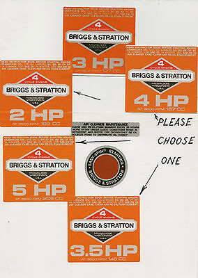 Briggs & Stratton Vintage Minibike Repro Orange Engine Decals