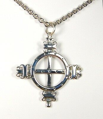 Viking Norse Celtic Odin's Solar Cross Scandinavia Pendant Sterling Silver 20""
