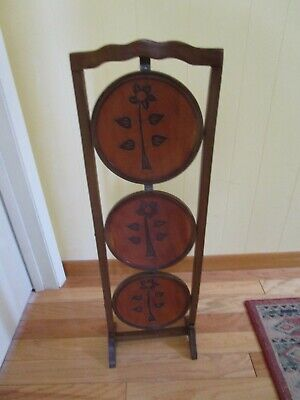 """Vintage 3-Tier Solid Wood inlay Pie Muffin Stand table floral Folding 35 ¼"""" Tall"""