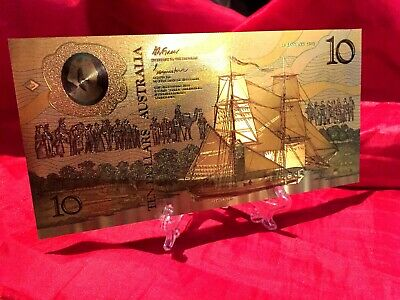 $10 Australia Banknote 1988 With Stand Coloured 24K Gold Limited Bank Note
