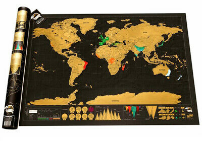 Travel Tracker Small Scratch Off World Map Poster with US States Country