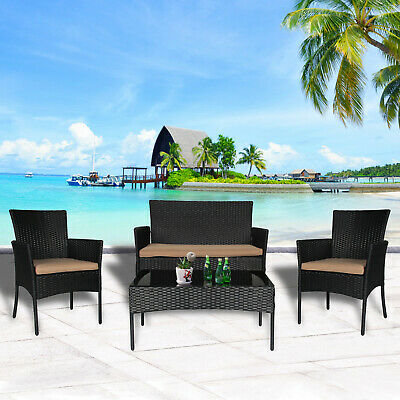 4 PC Wicker Rattan Patio Furniture Set Outdoor Lawn Garden Porch Sectional Seat