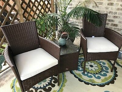 Outdoor 3 PC Bistro Sofa Set Wicker Conversation Rattan Set Sectional Furniture