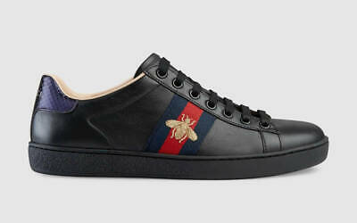 d49bb77a820 Gucci Ace Black Embroidered Bee Leather Flat Lace Up Tie Trainer Sneakers 40