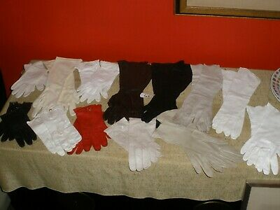 Vintage LOT of 13 pair Kid Leather Gloves 1950s-1960s Black White Brown Red #5