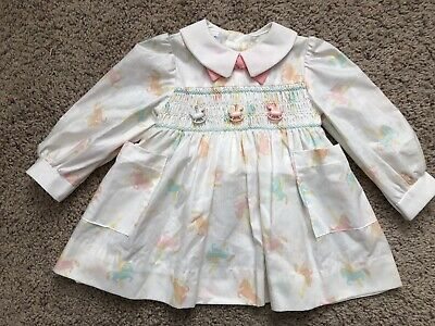 c909c42c513a Vintage Polly Flinders Dress 2T Pastel Horses Carousel Pink NEW Spring  Smocking