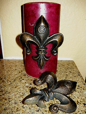 TWO, Cast Iron, Fleur de Lis Candle Pin, Tack, Old World, Tuscan, French, Crown