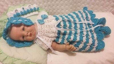 "New Hand Made Crochet Reborn Doll Dress Set Aqua & White Fit's 18""- 21"" Doll"