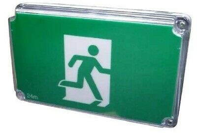 Menvier FIRE RETARDANT EMERGENCY EXIT LED SIGN 233x350x140mm 3W Powder Coated
