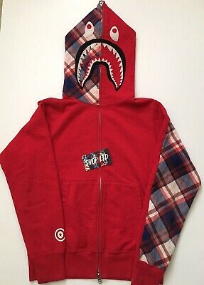 75b93d1233ac A BATHING APE Red Plaid Shark Hoodie Small Camo Multi Rare -  350.00 ...