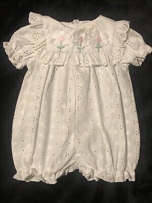 a3d36d94e59 BT KIDS BABY Girl Cotton Smocked White Eyelet Lace Pink Romper ...