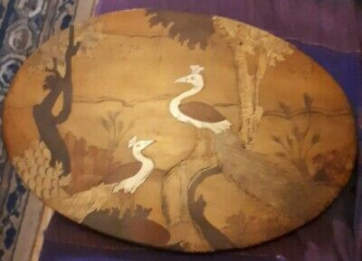 Antique Chinese Hand Crarafted Wooden INLAY Marquetry  Oval Board with Storks