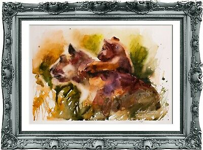 original painting lions aquarelle 126LM watercolor  signed A4