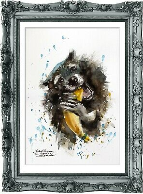 original painting  raccoon aquarelle 127LM watercolor  signed A4