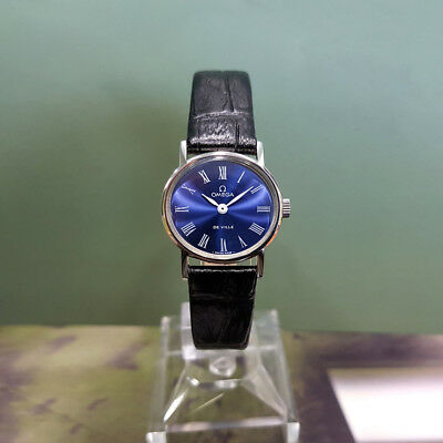 Superb Vintage Omega De Ville Ladies Manual Ss Blue Roman Dial Watch