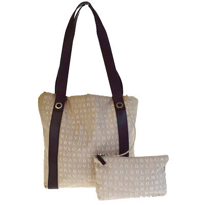 acca3627e533 Authentic BVLGARI LOGO MANIA Shoulder Bag Canvas Leather Beige Italy 01V2973