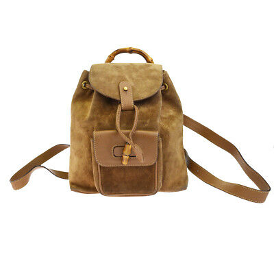 a7b2a94a2 Authentic GUCCI Logos Bamboo Mini Backpack Bag Sude Leather Brown Italy  69BF207