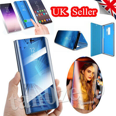 Smart Clear View Mirror Case For Samsung GalaxyS7 S8 S9 Leather Flip Stand Cover