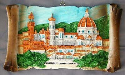 """Firenze / Florence Italy Colorful 3D Panorama Scroll Sculpture Marble Resin 9"""" W"""