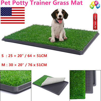 S/M Pet Potty Toilet Trainer Grass Mat Dog Puppy Training Pee Patch Pad Tray Mat