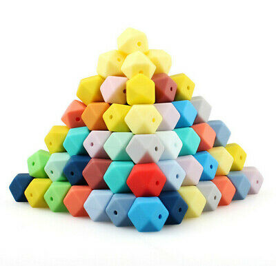 50Pcs/Lot Hexagon Silicone Beads DIY Baby Safe Chew Teething Toys Teether Making