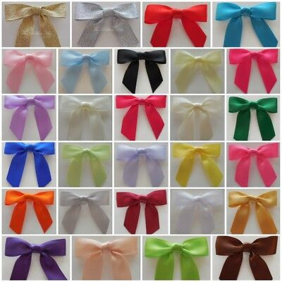 Satin Ribbon Bows-5.5cm x 4.0cm -Wedding,Embellishments,Crafts- Pack of 6
