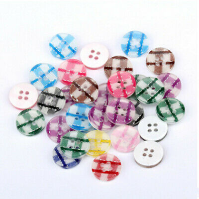 50pcs Lot DIY 4 Holes Color Round Resin Buttons Scrapbooking Sewing Craft