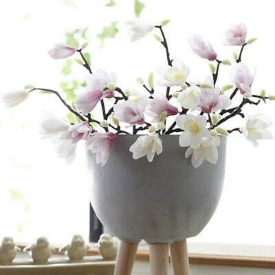 Artificial Fake Flowers Silk Magnolia Floral Wedding Bouquet Party