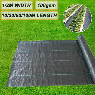 1m/2m Wide 100gsm Woven PP Weed Control Fabric Membrane Garden Mulch Landscape