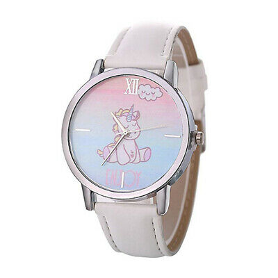 Children Watch With Leather Armband Cartoon Unicorn Pattern Casual Wrist Watch
