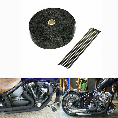 5m Black Exhaust Pipe Wrap Heat Protective Fireproof Cloth Exhaust Wrap