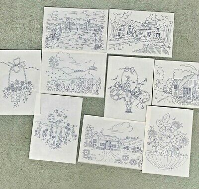 9 x Multi Impression Transfers for Embroidery & Needlework - Floral & Cottages