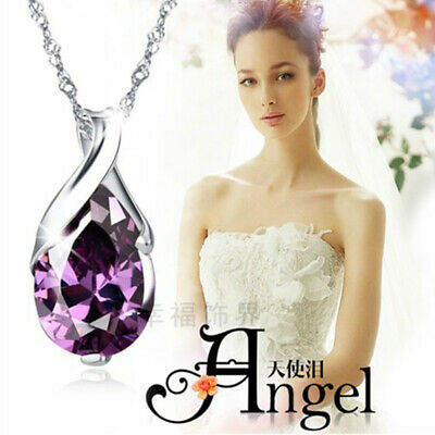 925 Sterling Silver Purple Crystal Angel Tears Necklace Women Christmas Gift