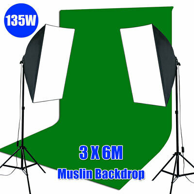 1350W Studio Softbox Continuous Lighting Light Stand 3x6M Green Muslin Backdrop