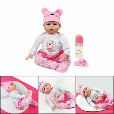 "22"" Newborn Doll Real Lifelike Silicone Reborn Baby Dolls Toddler Girl Gift QC"